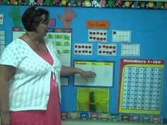 A first grade teacher shows her calendar board and how she has incorporated the Singapore Math strategy of building number sense with ten frames. First Grade Teachers, 1st Grade Math, Kindergarten Math, Teaching Math, Teaching Ideas, 1st Grade Calendar, Calendar Time, Calendar Ideas, 1st Grade Activities
