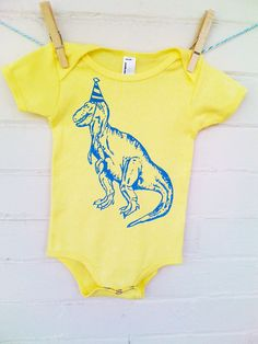 Party Hat Dinosaur Funny Screen Printed Baby Onesie Bodysuit - Yellow with Blue - Free Shipping