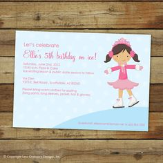 ice skating birthday party invitation by saralukecreative on Etsy, $15.00