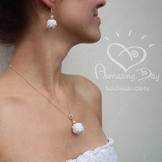 White Custom made contemporary Crochet bead jewelry by AmazingDay,   Have Yourself an Amazing Day! :)