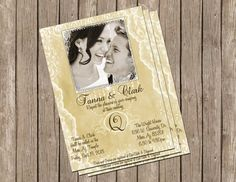 Classic Wedding Invitation, Gold and Cream Lace, Digital file, Printable on Etsy, $15.00