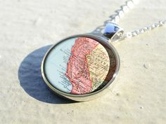 California state map resin pendants,map pendant charm, map jewelry, map necklace- M1906CP