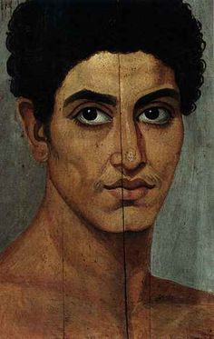 Fayum funeral portait of a young boy with a Greek name, Eutyhes . His name probably is derived from eu and tyhe which means good and luck or lucky and in modern Greek also happy. But he was probably not so lucky and died very young probably around 50-100 AD.