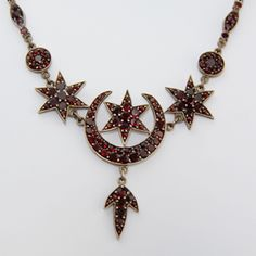 Crescent Moon and six pointed star garnet brooch. Islamic ...