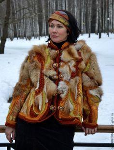 """Купить Авторская куртка-фриформ """"Злато скифов"""" - рыжий, авторская ручная работа, купить куртку"""