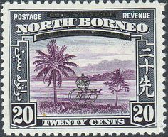 """North Borneo Stamp - 1947 / """"River"""" / 20 Cents / Black & Violet / Incorporates the Arabic and Chinese inscriptions"""