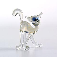 Clear Cat Glass Figurine