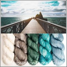 HORIZON HUES pearlescent fingering yarn kit: calming, reflective, pensive - ivory fades into silvery taupe/brown, sea green, sky aquas and soothing blues - ahhhhhhh....