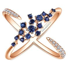 14k Pink Gold  Fashion Ring with Sapphires and Diamonds