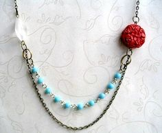 Boho Necklace, blue and red - turquoise beaded chain, red cinnabar bead on Etsy, $26.00