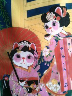 tapestry hanging  wall Maneki Neko geishas. 32x14 by Morondanga