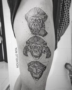 three wise monkey tattoo geometric line work