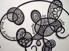 """Previous pinner said, """"go with the flow zentangle"""". But as I'm not sure that it they are all official ZentangleTM tangle patterns I'm happy to label them as doodles - they're probably Zentangle-inspired art. [There's a great Yahoo group who enjoy Zentangle-inspired art ;) Mo]"""