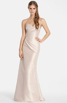 Free shipping and returns on Hayley Paige Occasions Strapless Dupioni Sweetheart Trumpet Gown at Nordstrom.com. Expert pleating drapes and sculpts a luminous dupioni gown, from the sweetheart neckline through the defined waist and down to the extravagantly flared trumpet skirt.