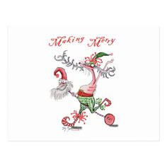 making merry postcard - merry christmas postcards postal family xmas card holidays diy personalize