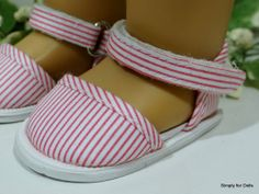 "18"" Girl Doll Clothes PINK & WHITE Striped SANDALS SHOES from AMERICAN SELLER"