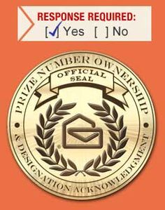 YES! Prize Number Ownership Official Seal and Designation Acknowledgement for Alexander Henderson in Aurora Colorado 80012