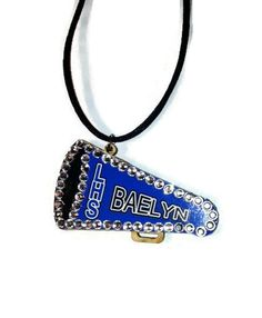 Personalized Megaphone Cheer Necklace Bling School cheerleading crew team by sherrollsdesigns. Explore more products on http://sherrollsdesigns.etsy.com