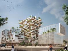 Proposed by French architect Jean Paul Viguier, a timber framed tower that will house both residential and commercial spaces will be erected in Bordeaux, France. Viguier's tower took the prize in a competition to select the designer of the new development, and when complete will become the tallest modern timber framed building in the world.