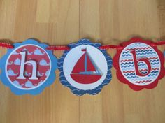 Nautical Boy Oh Boy Baby Shower Birthday Banner / Sign Blue Navy Red Whale Sail Boat Anchor