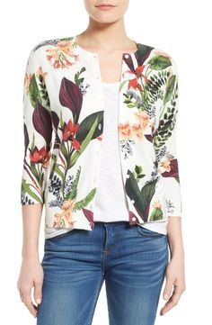 Crushing on this cute floral cardigan with vibrant colors making it easy to pair.