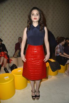 Pin for Later: See Every Celeb Who Sat Front and Center at Paris Fashion Week Odeya Rush The 17-year-old actress was seen taking her seat front row at Miu Miu in an alligator-style red skirt and some platform sandals.