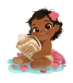 Baby Moana drawn by Nneka Myers