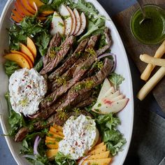 A recipe for Grilled Skirt Steak with Fresh Peaches and Burrata by Spoon Fork Bacon. Summer Recipes, Healthy Dinner Recipes, Healthy Dinners, Quick Recipes, Easy Meals, Grilled Skirt Steak, Beef Marinade, Steak Salad, Salad Recipes