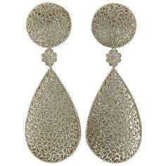 Preowned Buccellati Filidoro Silver Floral Teardrop Large Openwork... ($1,200) ❤ liked on Polyvore featuring jewelry, earrings, multiple, buccellati earrings, pre owned jewelry, buccellati, silver earrings and silver jewelry