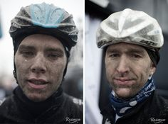 REFLECTIONS ON THE SEMI-CLASSICS BY KRISTOF RAMON - Luke Rowe (left) and Dirk Bellemakers (right) after a cold and muddy Dwars door Vlaanderen.