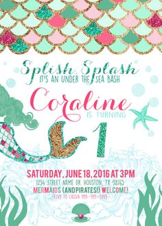 Mermaid & Under the Sea Birthday Party Bash by CassiaLeighDesign 6th Birthday Parties, Birthday Bash, Birthday Ideas, Party Fiesta, Little Mermaid Birthday, Mermaid Parties, Under The Sea Party, Birthday Party Invitations, As You Like