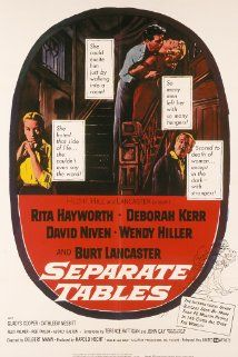 """BEST ACTOR: (1958)   DAVID NIVEN   for """"Separate Tables"""" The stories of several people are told as they stay at a seaside hotel in Bournemouth which features dining at """"Separate Tables."""""""