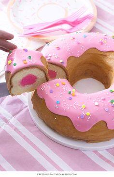 pink donut cake