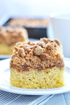 This Gluten Free Cinnamon Coffee Cake is perfect for brunch or week-day breakfasts. This coffee cake feeds a crowd or freeze individual pieces for later.