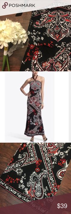 WHBM Halter Dress Red Black Paisley Print Long Excellent Condition! Beautiful - Bundle And Save White House Black Market Dresses Maxi