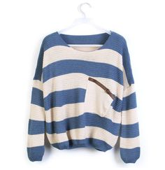 Blue Stripes Loose Sweater with Pocket.would look great with leggings and boots! Striped Long Sleeve Shirt, Long Sleeve Sweater, Long Sleeve Shirts, Striped Shirts, Baggy Sweaters, Oversized Sweaters, Loose Sweater, Cotton Sweater, Batwing Sleeve