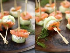 Smoked Salmon and Cream Cheese Cucumber Bites - A quick, light appetizer that takes just minutes to assemble! Always a hit at parties! These fly off the brunch table. This is my kind of snack! snacks Smoked Salmon and Cream Cheese Cucumber Bites Light Appetizers, Appetizers For Party, Appetizer Recipes, Bite Size Appetizers, Heavy Appetizers, Bridal Shower Appetizers, Party Canapes, Appetizer Buffet, Light Snacks