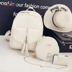 816bea94c9 3pcs Set Tassels Bowknot PU Leather Women Backpacks Cute School Backpacks  For Teenage Girls Female Shoulder Bag