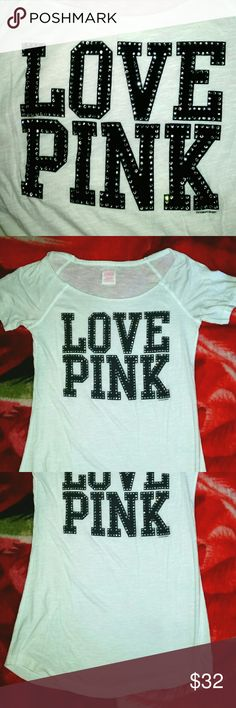 Victoria Secret Pink Bling sleep TEE SHIRT top xs Great preowned.. Some wash wear.. Rhinestone bling logo tee.. Size xs... NO TRADES!! PINK Victoria's Secret Tops Tees - Short Sleeve