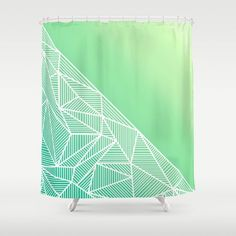 'B Rays Geo Gradient Green' Shower Curtain By Fimbis | Society6  #shower #home #geometric #green #lime #white #stylish #fashion #interiors #interiordesign #home #homedecor #style #stripes #bathroom