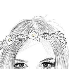 Art girl drawing discovered by Mielletanne✿ on We Heart It Outline Drawings, Easy Drawings, Text Drawings, Outline Art, Tumbler Drawings, Flower Crown Drawing, Girl Outlines, Tumblr Girl Drawing, Tumblr Outline