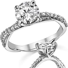 Round Brilliant Moissanite Twisted Band Engagement Ring