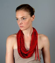 Boho Infinity Scarf Apple Red Black Womens Cotton Circle Necklace Scarves Loop Eternity Fabric Jewelry unique Tribal African  Neckpieces. $42.00, via Etsy.