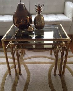 willy rizzo 70s gold chrome glass coffee table mid century