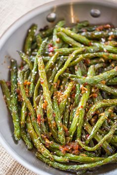 Spicy Chinese Sichuan Green Beans are the perfect easy side dish to your favorit. Spicy Chinese Sichuan Green Beans are the perfect easy side dish to your favorite Chinese meal and they're a breeze to make with just a few ingredients. Side Dishes Easy, Side Dish Recipes, Asian Recipes, Healthy Recipes, Chinese Recipes, Asian Side Dishes, Spicy Recipes, Chinese Meals, Szechuan Recipes
