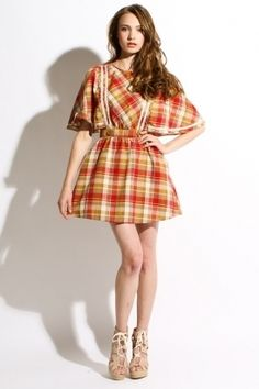 dear creatures - women's gretal dress (red/gold plaid) - Dear Creatures | 80's Purple - StyleSays