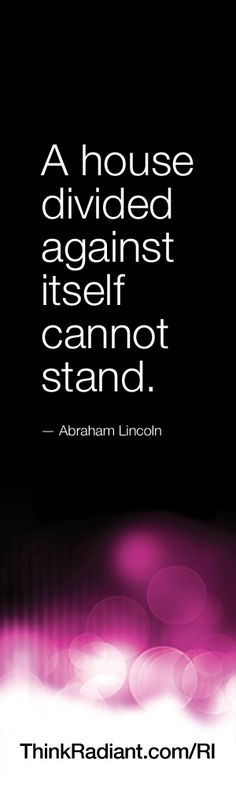 A house divided against itself cannot stand. - Abraham Lincoln......very true