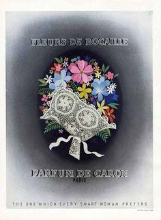 CARON PERFUME AD - 1935 - Fleurs de Rocaille - Bouquet of Flowers - Paris #CaronPerfumes