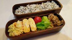 posted by @hiroko_13d 今日のお弁当大麦ご飯ポテサラ玉子焼きキャベツソテー豚の甘辛焼き#お弁当...