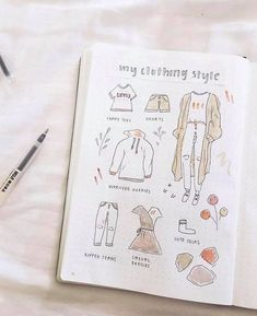 40 Easy Things to Draw for Your Bullet Journal - - Things to Draw – Clothing Doodle // Bullet journal doodles, bullet journal ideas, bullet journal drawing ideas Source by shihoriobata Creating A Bullet Journal, Bullet Journal Notebook, Bullet Journal Aesthetic, Bullet Journal Spread, Bullet Journal Layout, Bullet Journal Inspiration, Book Journal, Journal Ideas, Bullet Journal Workout